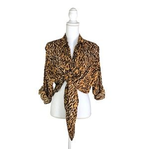 Vintage Animale By Jacques Ruc Cheetah Button Up M